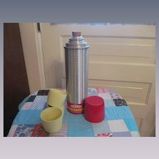 Chrome Picnic Thermos #2184 with Cork Stopper and Cups