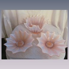 Fostoria Heirloom Pink Opalescent Bowl and Candle Holders