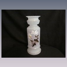 "Bristol  Glass 12"" Vase, Early Hand Painted"