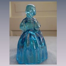 Wheaton Blue Carnival Glass Colonial Dressed Girl
