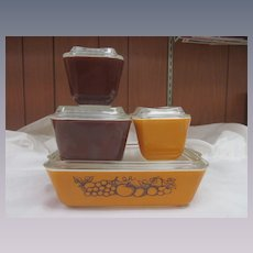 Pyrex Old Orchard 8pc Refrigerator Set, EX