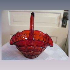 Tiara Orange Constellation Basket by Indiana Glass