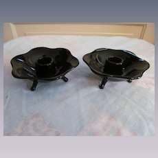 Fenton Black Glass Candle Holders