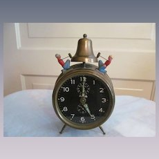 Forestville Germany Alarm Clock, Figural Bell Ringers