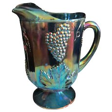 Blue Carnival Harvest Grape 64oz Pitcher by Indiana Glass