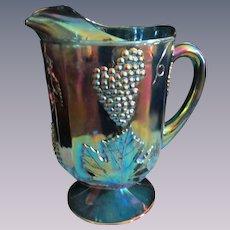 Blue Carnival Harvest Grape 64oz Pitcher by Indiana Glass