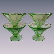 Four Federal Green Paneled Depression Sherbet, Sundae. Dessert Bowls