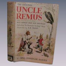 1921 Uncle Remus His Songs and His Sayings, Dust Cover by Joel Chandler Harris, Grosset & Dunlap