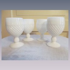 "Four Westmoreland English Hobnail 5 1/4"" Goblets"