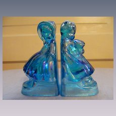 Blue Carnival Wheaton Bookends, Boy & Girl