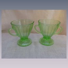 Hazel Atlas Ribbon Green Depression Creamer Sugar Set