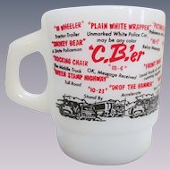 Fire King Hocking CB'er Slang, Semi Truck Stacking Mug