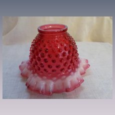 Fenton Cranberry Opalescent Hobnail Lamp Shade