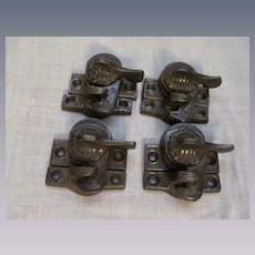 4 Antique Window Sash Locks Latch, Eagle Claw, Victorian Era, Eastlake Design
