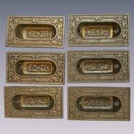 6 Victorian Eastlake Design Pocket Door Pulls Handles, Sargent & Co
