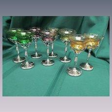 8 Chrome Farberware Cambridge Cocktail Wine Goblets