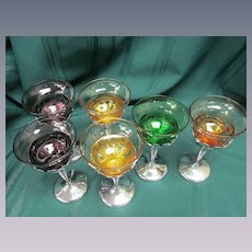6 Chrome Farberware Cambridge Glass Cocktail Wine Goblets