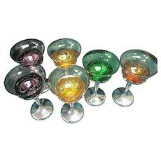 6 Chrome Farberware Cambridge Glass Cocktail Wine Goblets