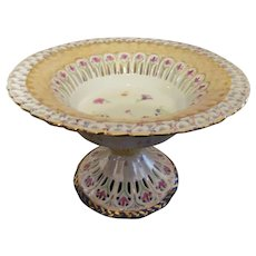 Fine Porcelain Hand Painted Pealized Pierced Large Footed Bowl, Signed