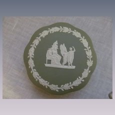 Green Wedgewood England Powder Dresser Box