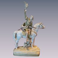 "Royal Dux 25"" Hunter on Horse Figurine Statue"