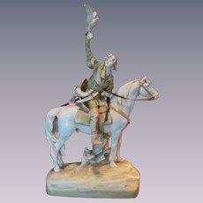 "Royal Dux 25"" Hunter on Horse Figurine Statue"
