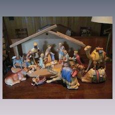 Hummel Goebel 15pc Large Christmas Nativity Figurine Set with Manger