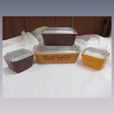 Pyrex Old Orchard 8pc Refrigerator Ovenware Dish Set EX