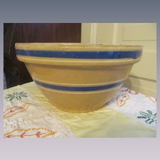 "Yellow Ware Yelloware Blue White  11 1/2"" Mixing Bowl"