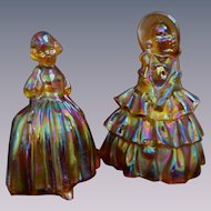 2 Wheaton Carnival Marigold Glass Ladies Figurines