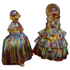 2 Wheaton Carnival Marigold Glass Ladies Figurines