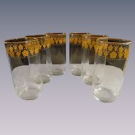 "6 Butterfly Gold 5 1/2"" Tumblers by Libbey for Pyrex Corelle"
