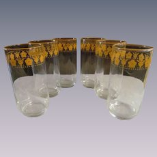 """6 Butterfly Gold 5 1/2"""" Tumblers by Libbey for Pyrex Corelle"""