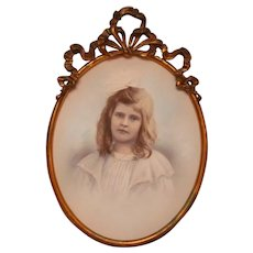 Metal Victorian Wall Frame, Young Girl Color Portrait Picture
