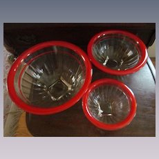Hazel Atlas Red Stripe Nesting Mixing Bowl Set, 3 Bowls