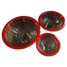 Hazel Atlas Red Stripe Nesting Mixing Bowl Set, 3 Bowls