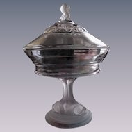 EAPG Frosted Dolphin Covered Compote Comport, Hobbs Brockunier
