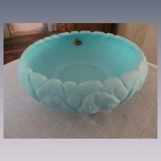 "Fenton Water Lily Blue Custard Satin 8 1/2"" Bowl, 1970's"