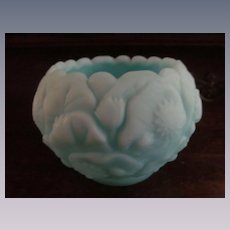 Fenton Water Lily Blue Satin Rose Bowl, Paper Label
