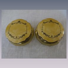 Pair Celluloid, Amber Glass Powder Box Jar