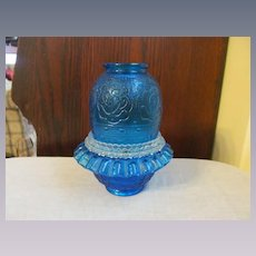 Fenton 3pc Persian Medallion Blue Fairy Light Lamp