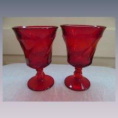 Fostoria Jamestown Pair Ruby Red Goblets