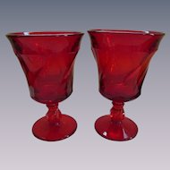 Fostoria Jamestown Pair Ruby Red Goblets