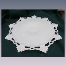 "Westmoreland Ring and Petal 12"" Milk Glass Footed Cake Stand Salver"
