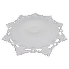 """Westmoreland Ring and Petal 12"""" Milk Glass Footed Cake Stand Salver"""