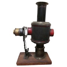 Early German Magic Lantern Kerosene Projector, Wiener Flachbrenner