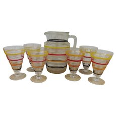 Hocking Banded Rings Depression Pitcher, 6 Tumblers