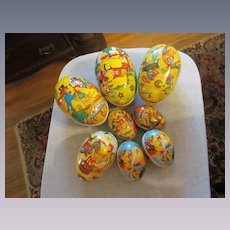 8 Paper Mache Easter Eggs,Ducks Rooster  Rabbit, East Germany, GDR