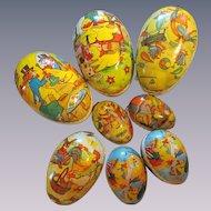 8 Paper Mache Easter Eggs,Ducks Rooster  Rabbit, East Germany, GDR