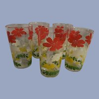 "Five Hocking Poppy 4  3/4""  Swanky Swigs Tumblers"